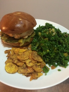 Turkey Burgers, Kale Salad, Plantain Chips
